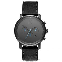 Chrono Gun Metal Black Leather
