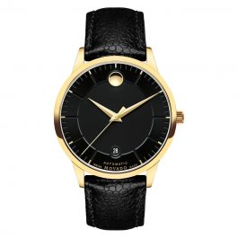Movado 1881 Black Dial Black Leather 0607021
