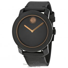 Movado Bold Black Dial Black Leather 3600297